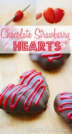 These chocolate covered strawberry hearts are such an adorable idea for a Valentine's day treat! @Christiana Rehm for MOPS next month!