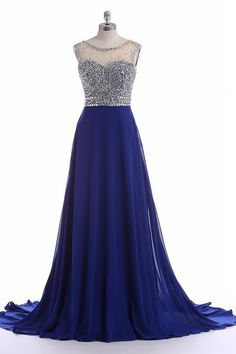 Royal Blue Chiffon Long Prom Dresses With Rhinestone Beaded Bodice And Sheer Bateau Neckline