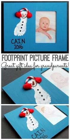 Baby photo frames: Make this footprint frame as a gift for Christmas! Baby photo frames: Make this footprint frame as a gift for Christmas! Baby Christmas Crafts, Christmas Gifts For Parents, Baby Crafts, Kids Christmas, Holiday Crafts, Holiday Ideas, Infant Crafts, Toddler Christmas Gifts, Daycare Crafts