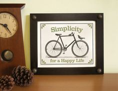 Vintage Bicycle Art Print Framed Black and White Wall Art