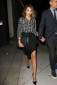 Jessica Alba.. Michael Kors Spring 2015 Silk-Cotton Shirt and Draped Wool Skirt - with Narciso Rodriguez Ava heels..