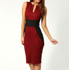 Trendy Style Polyester Color Block Beam Waist Sleeveless Bodycon Knee Length Dress For Women (ROSE,ONE SIZE)   Sammydress.com
