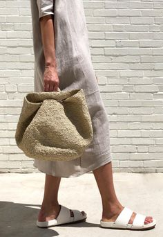 Slouchy bowl bag from Lauren Manoogian. Soft circular construction with side slit handles. Knit Basket, Crochet Decoration, Macrame Bag, Boho Bags, Knitted Bags, Crochet Fashion, Leather Accessories, Clutch Bag, Fashion Bags