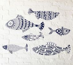 love these fishy decals... could potentially make.    Hamptons Pattern Fish Decal, Pottery Barn Kids