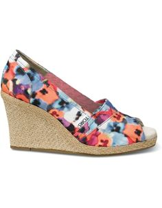 Toms Wedges with flowers