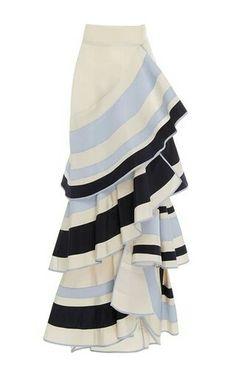 Moda Oprendi - Lombard Street Tiered Ruffle Skirt by Johanna Ortiz Stripe Skirt, Ruffle Skirt, Dress Skirt, Silk Skirt, Ruffles, Jean Skirt, Skirt Suit, Love Fashion, Fashion Outfits