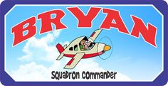 Squadron Commander Personalized Kids Airplane Sign with Cartoon Pilot & Realistic Sky Background