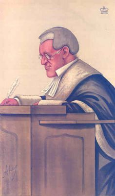 JUDGES #17: Lord Chief Justice. Antique Caricature.1887. Vanity Fair Cartoon.Law