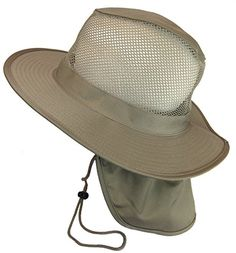 Hunting- Cool Mesh Military Camouflage Boonie Bush Safari Outdoor Fishing Hiking Hunting Boating Brim Hat Sun Cap with Neck Flap (Khaki, M) ** Check out the image by visiting the link.