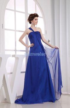 One-shoulder Floor Length Plus Size Chiffon Blue Evening Dress With Shirring(ZJ5273)