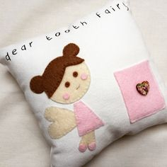 Tooth Fairy Cushion/pillow with appliqued felt fairy. Handmade. Dear Tooth Fairy printed text and small pocket with button. Nursery decor by CalonB on Etsy