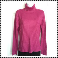 """⭐️CLEARANCE SALE -METALLIC KNIT TURTLENECK SWEATER Sparkly metallic rib knit turtleneck sweater. 87% Acrylic, 8% Polyester, 5% Metallic. Measurements approx: armpit to armpit - 18"""" across, from center back neckline to bottom - 23"""" long.  Fit: closer to med. Color: Metallic Pink (actual color of item may vary slightly from photos) Sweaters Cowl & Turtlenecks"""