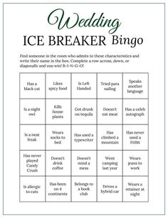 Bridal Shower Ice Breaker Game Forest Green Wedding Human image 1