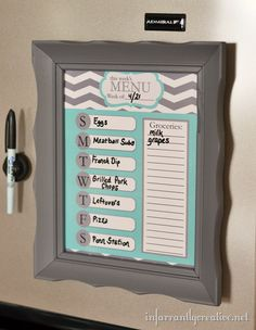 menu-planner I will make this!! - except use a clip and a paper pad for the grocery list so I can take it to go!