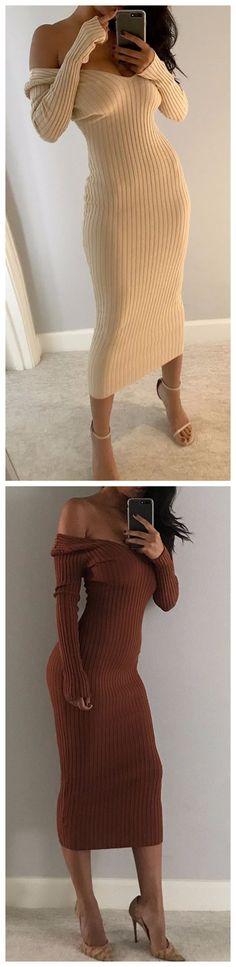 Rib-knit Off Shoulder Bodycon Maxi Dress $29.99
