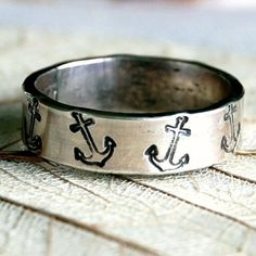 Anchor - Sterling Silver Ring Band - 5mm - Hand Forged and Hand Stamped - Custom Size