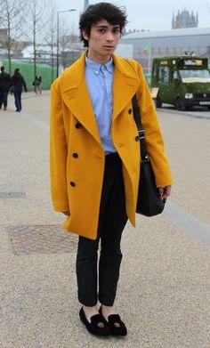Big yellow coat (http://www.mydailylondon.com/2012/02/bold-and-fashionable)