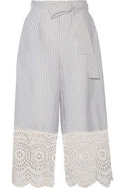 Zimmermann Meridian broderie anglaise-trimmed striped cotton-poplin wide-leg pants