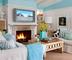 Cottage Chic - interesting way to do the turquoise paint higher on the wall.