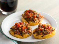 Grilled Polenta Crackers With Roasted Pepper Salsa. Polenta is a great substitute for bread, pasta or rice. Love grilled or pan fried polenta. Summer Appetizer Recipes, Healthy Summer Recipes, Party Recipes, Cookout Appetizers, Skewer Recipes, Vegan Appetizers, Potluck Recipes, Summer Desserts, Party Snacks