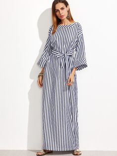 Shop Striped Self Tie Roll Cuff Maxi Dress online. SheIn offers Striped Self Tie Roll Cuff Maxi Dress & more to fit your fashionable needs.
