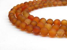 Natural Carnelian Beads, Matte Beads, Orange Carnelian, Carnelian Beads, Autumn Beads, Fall Beads Orange Beads Frosted Beads Orange Gemstone by GenuineBeadShop on Etsy https://www.etsy.com/listing/253259199/natural-carnelian-beads-matte-beads
