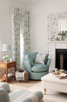 Ready-Made-Curtains from the Laura Ashley Collection diy home decor,diy,diy crafts,diy room decor,diy headboard Coastal Living Rooms, Home Living Room, Living Room Furniture, Living Room Decor, Living Spaces, Laura Ashley Living Room, Laura Ashley Curtains, Laura Ashley Home, Family Room