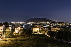 Athens, Europe, capital, city, cityscape, color, grass, landscape, lights, mountain,nature,night,stars,trees