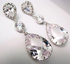 Bridal Wedding Clear White Teardrop Earrings