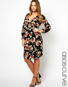 ASOS CURVE Tulip Dress In Floral Print