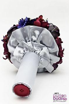 Alternative wedding bouquet by Nic's Button Buds weddings, brooch bouquet, button bouquet, purple, pink, blue, fuschia, melbourne, australia, silk flowers, wedding flowers, wedding bouquet, bride bouquet, unique bouquets