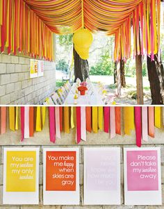 You Are My Sunshine Birthday Party Bachelorette party card! We Heart Parties: Party Information - Outdoor Movie Crepe Paper Decorations, Streamer Decorations, Streamer Ideas, Decorating With Streamers, Crepe Paper Streamers, Party Streamers, Sunshine Birthday Parties, First Birthday Parties, Birthday Party Themes
