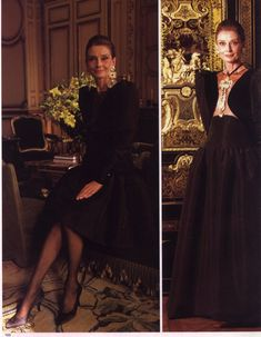 Audrey Hepburn photographed for a fashion editorial for Paris Match, October 1991 issue, by Jean-Claude Sauer at the Maison Givenchy on Avenue George V in Paris. Audrey Hepburn Mode, Audrey Hepburn Pictures, Aubrey Hepburn, Elsa Peretti, Carolina Herrera, Viejo Hollywood, Karl Lagerfeld, Ladylike Style, Lesage