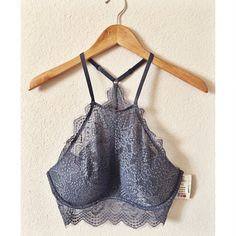Victoria's Secret PINK Lace Eyelash Bra Bralette NWT. Gorgeous lace, high-neck bralette. Padded cups and racer back style. Size large. Victoria's Secret Intimates & Sleepwear Bras