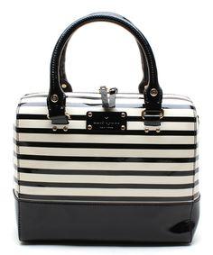 Black & White Stripe Alessa Patent Leather Shoulder