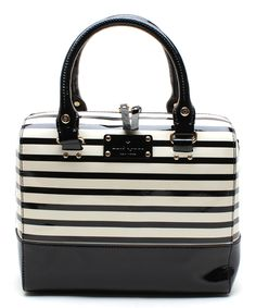 Black & White Stripe Alessa Patent Leather Shoulder