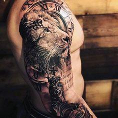 Lion Tattoo Sleeves, Mens Lion Tattoo, Best Sleeve Tattoos, Sun Tattoos, Nature Tattoos, Tattoos For Guys, Cool Tattoos, Lion Tattoo Design, Tattoo Designs