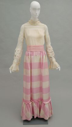 1972, Italy - Evening Ensemble: Blouse, Skirt and Belt by Valentino - Off-white silk chiffon crepe, off-white lace; pink, white and green synthetic plain weave; pink and off-white checked silk faille; pink silk chiffon crepe