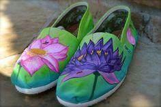 Custom Painted TOMS Shoes - Lotus Flowers