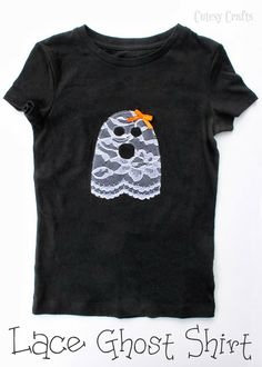 ghost halloween shirt appliqued with lace would be cute on a dress with lace leggings - Homemade Halloween Shirts