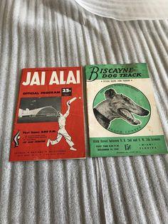 2 VINTAGE PROGRAMS BISCAYNE DOG TRACK RACE 1949 JAI ALAI PALM BEACH FRONTON 1958 | #1865022021