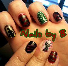 Freddy Krueger Nails - Nightmare on Elm St - Nails by B Eugene Oregon #nailart #handpainted #horror #NOES #Freddy #nailsbyb