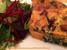Baked Sweet Potato, Spinach & Feta Frittata | Skinny Jeans and the Inbetweens