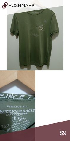 American Eagle men's green T-shirt American Eagle Outfitters men's tee-shirt. Green. Vintage fit. 77. Size S/P. 100% cotton. Used good condition. Small stain on the sleeve.   #mensshirt #americaneagle77 American Eagle Outfitters Shirts Tees - Short Sleeve
