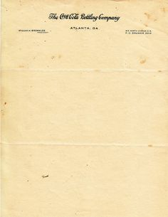 Letterhead of William H. Brownlee, President of The Coca-Cola Bottling Company