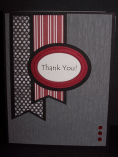 "Included is one handmade black, gray, red and white ""Thank You"" greeting card, using products from Stampin' Up and other companies. Size:"
