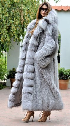 NEW Platinum FOX Long FUR Coat Hood Class Chinchilla Sable Jacket Mink Silver…