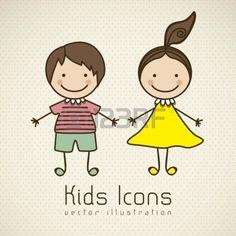 Illustrazione di icone per bambini, gruppi di bambini, illustrazione vettoriale Archivio Fotografico