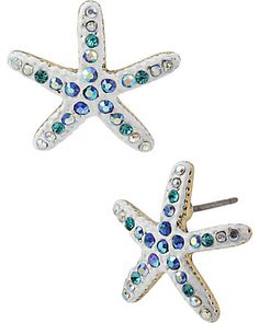Don some serious seaside beauty with these crystal-accented white starfish post stud earrings