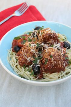 Meatballs in Chorizo and Black Olive Sauce